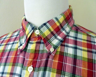Vintage Brooks Brothers 346 Multi-Colored Plaid Indian Madras Button-Down Collar OCBD Casual Shirt XL 17 1/2 - 36 1/2.  Made in India.