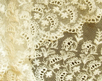 "Antique Cotton Lace Intricate French Tambour Tulle 5-1/2"" wide; Very Light Off White Ecru Flat Trim"
