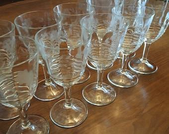 Vintage Lead Crystal Wine Glasses set of 10