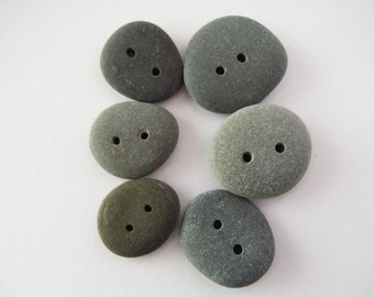 Beach Pebble Buttons - Set of 6