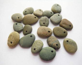 Small Top Drilled Beach Pebble Beads - Green Earth Tones - Set of 19