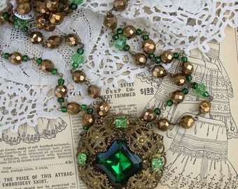 Necklace with Repurposed Vintage Brooch and Vintage Crystals