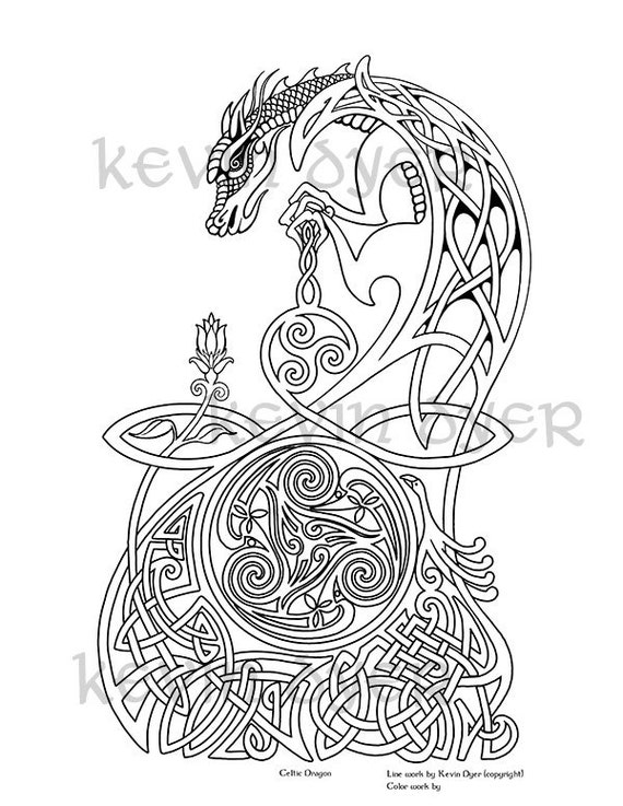 Celtic Fantasy Adult Coloring Pages