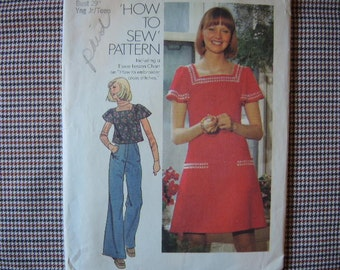 vintage 1970s simplicity sewing pattern 6508  juniors short dress and top size 7/8