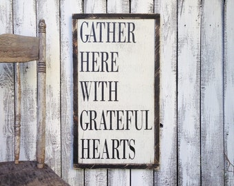 Gather Here With Grateful Hearts Rustic Distressed Farmhouse Style Framed Wood Kitchen Dining Room Sign 13.5x24