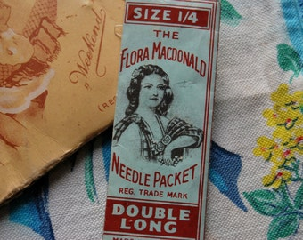 "Rare Vintage French-found Paper Needle Cases-""Weekend"" & Flora Macdonald Needle Pkt-Able Morrall Ltd,Redditch,Exquisite Sewing Collectables"