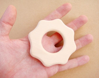 Wooden Baby Teether - shape FLOWER, Organic Baby Toy, Natural Wooden Toy
