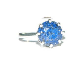 Sterling Silver  Lapis Ring, Ring With Big Stone, Ring With Blue Stone, 10mm Stone