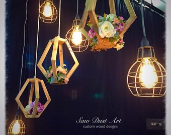 Rustic wooden prisms