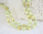 Vintage Pale Green Bead Necklace Two Strand Classic Vintage Necklace