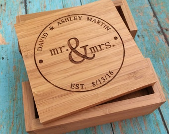 Wedding Engagement Gift Coasters, Custom Wedding Coasters, Wood Engraved Coasters, Personalized Bamboo Coasters, Engagement Gift Ideas