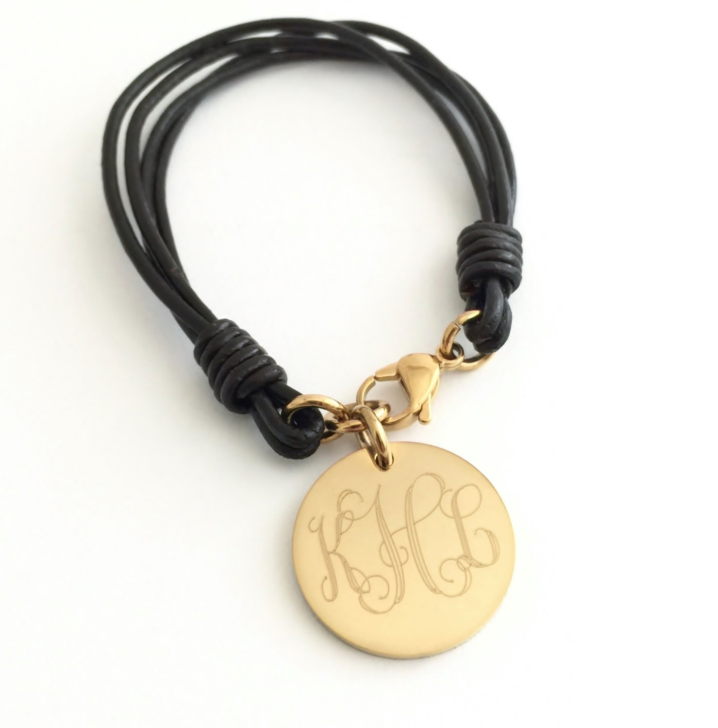 Leather Bracelet With Charms: Personalized Leather Bracelets For Women Monogram Leather