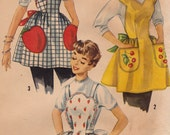 1956 Apron Vinytage Sewing Pattern - Simplicity 1756 - One Yard Apron, Applique Transfer Apple, Strawberry or Cherry Pockets, Complete