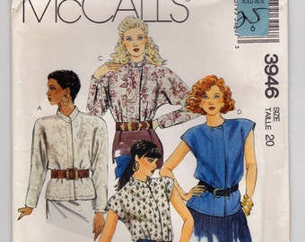 FF 80s, Size 20, Blouse Vintage Sewing Pattern - McCalls 3946 - Bust 42, Easy to Make, UNCUT
