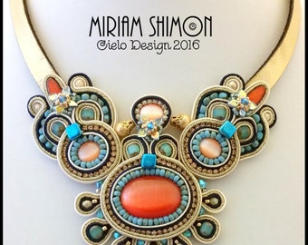 ON SALE Gold orange turquoise cream Soutache necklace