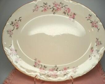 Vintage Wedding Oval Platter Homer Laughlin Eggshell Nautilus Apple Blossom Cherry Blossom Pattern Vintage Bridal Shower