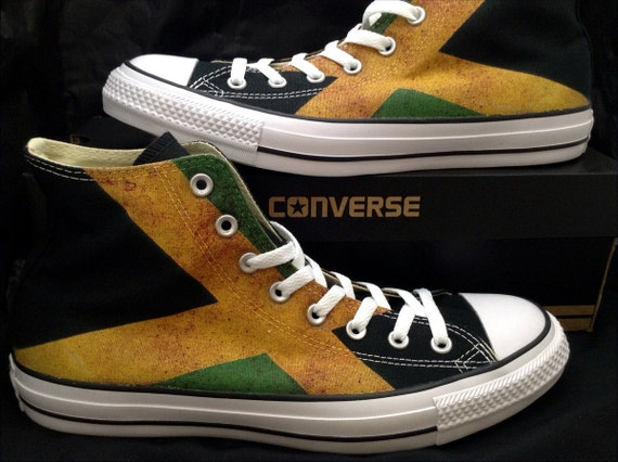 Jamaican Flag distressed Converse High Top Custom Printed w/ Swarovski Crystal Rhinestone Bling Jewels Chuck Taylor All Star Sneakers Shoes