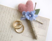 Blush Pink Wedding Heart Boutonniere, Grooms Flower, Felt Wedding, Men's Lapel Flower, Felt Flower Wedding, Rustic, Twine, Hydrangea