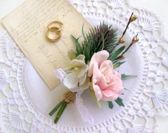 Gold Rose Wildflower Boutonniere, Gold Woodland Rustic, English Garden Wedding, Scottish Thistle Rose Buttonhole, Wedding Ceremony, Groom