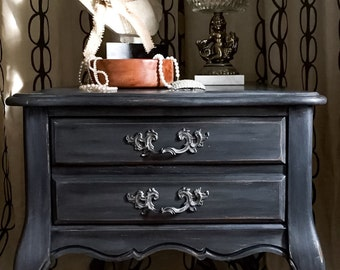 SOLD  Vintage French Provincial Nightstand Charcoal Grey Farmhouse Distressed Shipping Not Included