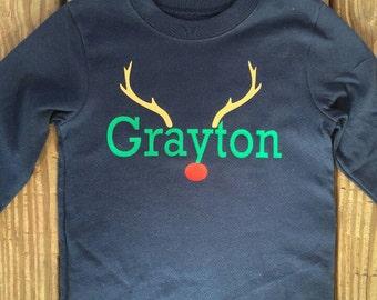 Monogram Reindeer/Christmas Shirt/Rudolph