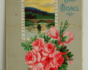 Best Wishes vintage postcard