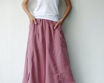 NO.41 Pink Cotton Wide Leg Pants, Unique Pockets Trousers, Women's Pants