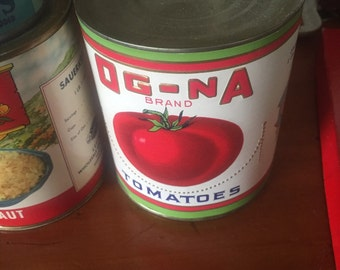 Vintage tin can of Og-na Tomatoes