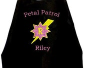 Super Hero Cape,Girl's Cape, Flower Girl Cape, Petal Patrol Lightning Bolt   Embroidered Personalized