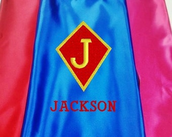 Super Hero Cape, Kids Cape Embroidered Personalized with Name Royal Blue