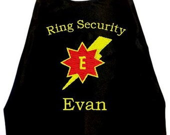 Super Hero Cape  Ring Bearer Lightning Bolt  Embroidered Ring Security Cape Personalized Wedding Photo Op