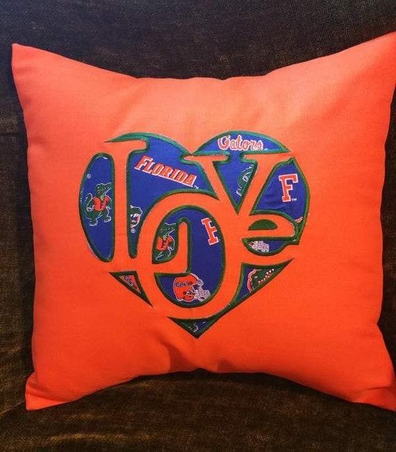 "Embroidered Florida Gators  ""Love""  Pillow Cover  - 18 x 18- Florida Gators-"