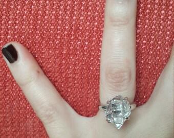 Herkimer Diamond Engagement Ring, Herkimer diamond ring, Recycled Sterling Silver 14K 18K Yellow White Gold enhydro quartz gift idea SKU1865