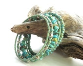 Stacked beaded bracelets - Turquoise stone, Picasso glass & silver filled beads