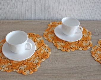 Crochet doily set of 4, multicolored lace doilies, table decoration, Easter, Ready to ship