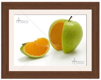 Artistic Funny Apple With Orange Segments Food Photographic Print - Various Sizes - Gift Idea