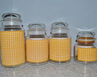 Yellow Gingham Canister Set ~ Vintage Canisters ~ Kitchen Storage ~ Epsteam