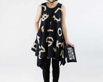 Wink Dress, Pocket Drape, Hand Dyed and Painted in Black Cotton