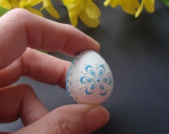 Quail Egg Pysanka in Blue, Wax Embossed Easter Egg