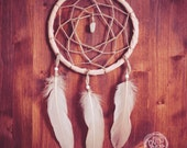 Dream Catcher - Magical Wish - With Small Gemstone, Natural Whool Web, Rose Feathers and Frame - Boho Home Decor, Nursery Mobile