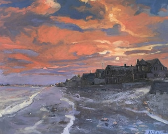 """Winter Sunset, Drake's Island, Wells, Maine, Large, 24"""" X 30"""" original painting, oil on stretched canvas by Adrienne Kernan LaVallee"""