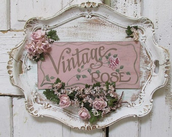Ornate platter painted sign wall hanging ' Vintage Rose' shabby cottage chic millinery flowers Christmas gift home decor anita spero design