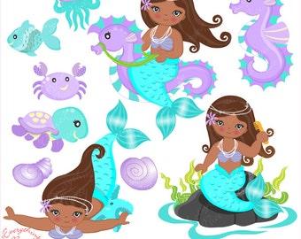 African-american Little Mermaids Mermaid in Aqua & Purple Clipart Set