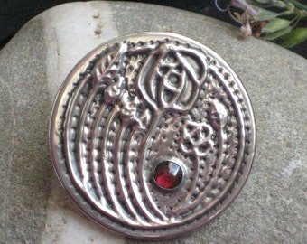 Garnet Mackintosh Rose Pewter Brooch