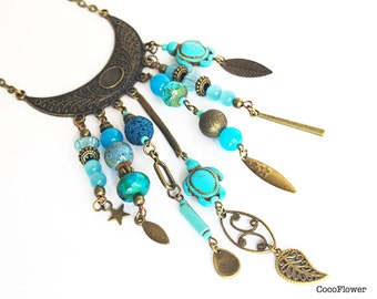 Rustic necklace, Gypsy turquoise necklace, Hippie beads necklace, boho jewelry, Tribal necklace, Delicate jewelry