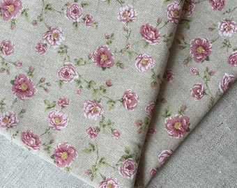 Cotton pink vintage flowers fabric 19.68 x 55.11 inch