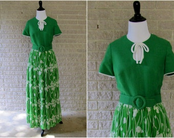 Vintage Dress | 1960s | Miss Elliette Green Linen & Cotton Floor Length Dress | Small/Medium