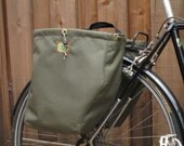Set of two ranger green bicycle pannier/bike bags (in stock and ready to ship)
