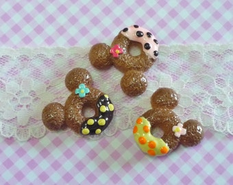3 pcs/6pcs Mouse Doughnuts with Cream and Flower cabochons, Sweet Dessert,  Miniature Food