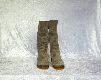 Vintage Womens Suede Slouchy Boots GRAY SUEDE BOOTS Genuine Suede Women's Boots
